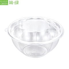 HS-03 Eco-Friendly Round Salad Bowl To Go For Safety PET Plastic
