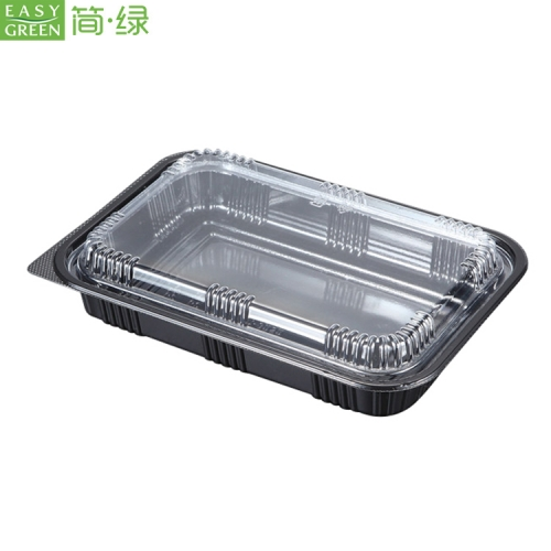 Black Plastic Pp Disposable Food Containers Box With Lid