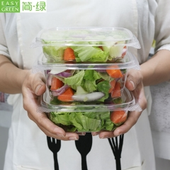16oz(450ML)Disposable Salad Bowl PLA Plastic Disposable With Lid