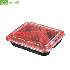 Disposable Plastic Bento Lunch Box For Microwavable PP With 3 Compartment