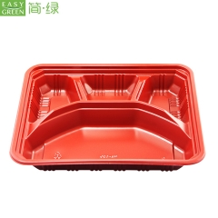 Disposable Microwave Safe Paper Lunch Box PP Plastic With Compartment