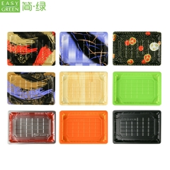 HP-09 Custom Black PS Plastic Sushi Trays With Lid