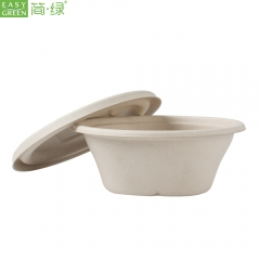 Disposable Biodegradable Restaurant-Grade 26 Oz Microwave Compostable Wheatstraw Paper Ice Cream Chili or Soup Bowl