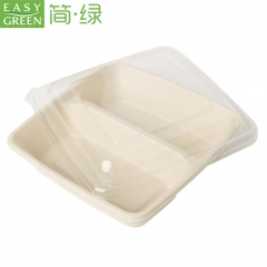 EASY GREEN Bamboo Sugarcane Paper Biodegradable Microwavable rectangle 2 compartment Food Packaging