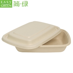 Easy Green disposable rectangle biodegradable salad noodle lunch food storage container with paper lids