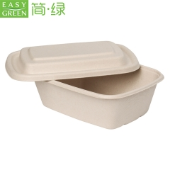EASY GREEN Disposable Biodegradable Bagasse Tableware Rectangular Pulp Molded Food Packaging Container